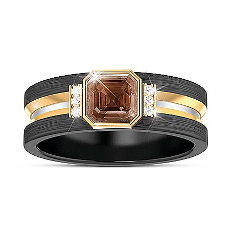 Special Reserve Men's Bourbon Quartz And Diamond Ring