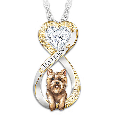Always In My Heart Yorkie Women's Personalized Infinity Pendant With Heart-Shaped Simulated Diamond, 18K Gold-Plated Accents – P