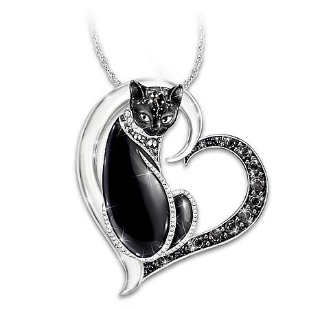 Midnight Mysticat Necklace With Swarovski Crystals
