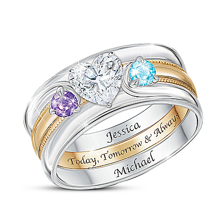 Love Completes Us Women's Personalized Heart-Shaped Birthstone Ring – Personalized Jewelry