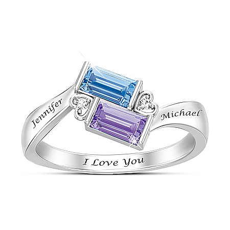 Forever Together Women's Crystal Birthstone & Diamond Personalized Ring - Personalized Jewelry