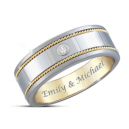 Strength Of Our Love Men's Personalized Quantum Sapphire Tungsten Ring – Personalized Jewelry