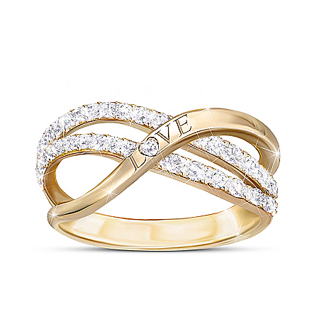 Dance Of Love Engraved Ring With 2 Dozen Genuine Diamonds