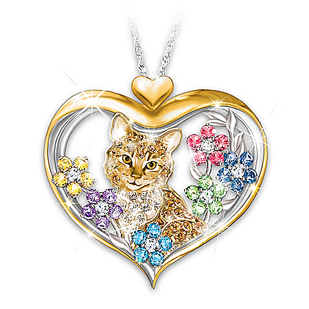 The Purr-fect Garden Pendant Necklace With Crystals