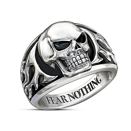 Fear Nothing Stainless Steel Men's Skull Ring