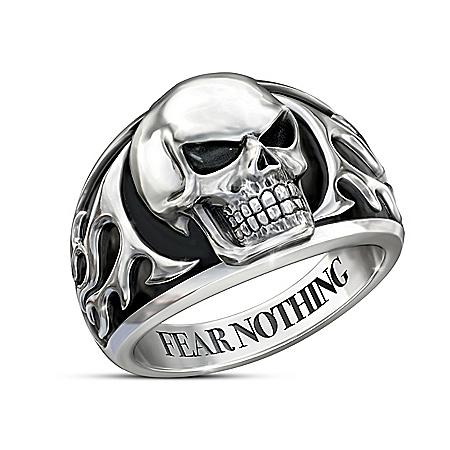 Fear Nothing Stainless Steel Men's Skull Ring
