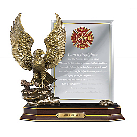 A Firefighter's Honor Sculpture With Personalized Plaque