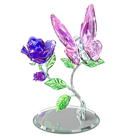 Wings Of Beauty Crystal Butterfly Sculpture With Mirrored Base