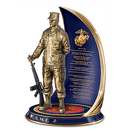 Marine Spirit Cold-Cast Bronze Sculpture With Rifleman's Creed