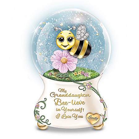 Granddaughter, I Bee-lieve In You Personalized Musical Glitter Globe