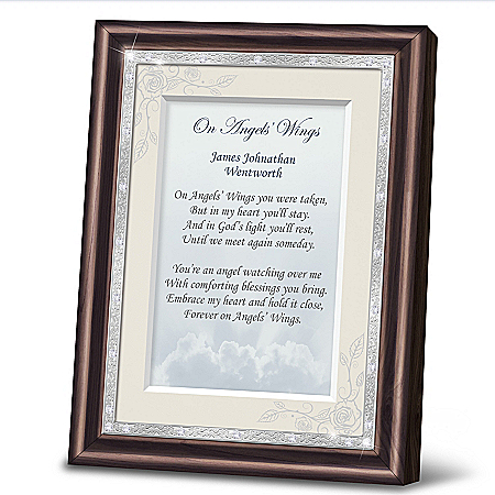 On Angels' Wings Personalized Heirloom Poem Frame