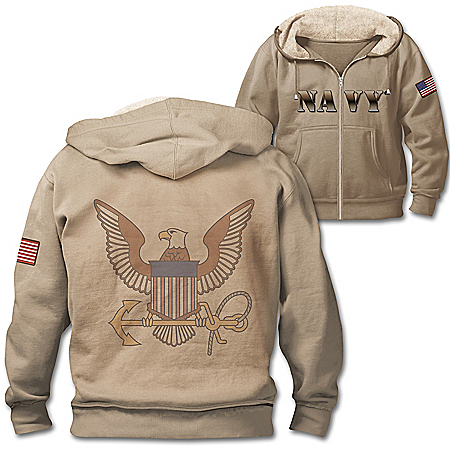 U.S. Navy Pride Full-Zip Men's Hoodie With Sherpa-Lined Hood