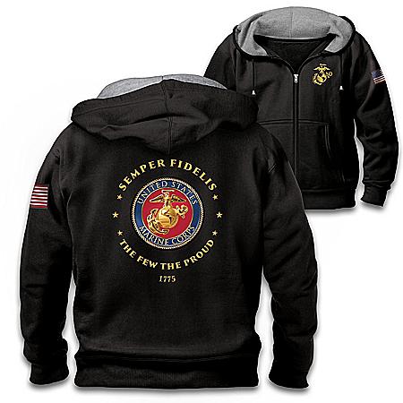 Proud To Serve U.S. Marines Men's Black Knit Fleece Front-Zip Hoodie