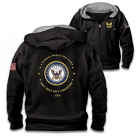 Proud To Serve U.S. Navy Men's Black Knit Fleece Front-Zip Hoodie
