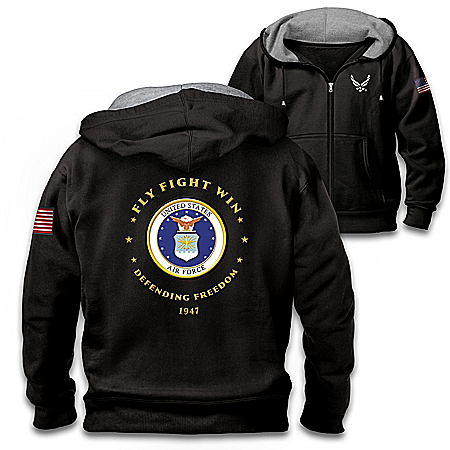 Proud To Serve U.S. Air Force Men's Black Knit Fleece Front-Zip Hoodie