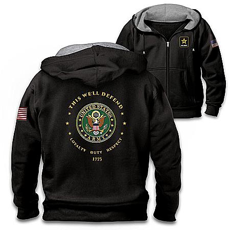 Proud To Serve U.S. Army Men's Black Knit Fleece Front-Zip Hoodie
