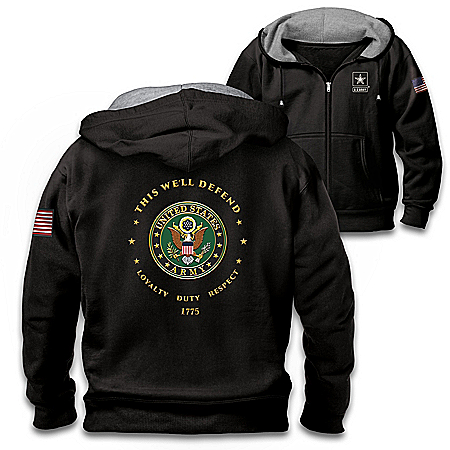 Proud To Serve U.S. Army Men's Black Knit Fleece Front-Zip Hoodie