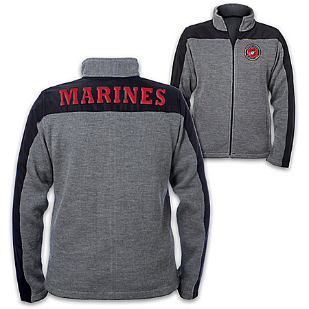 USMC Men's Knit Jacket with Applique Letter Patches and Emblem