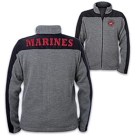 USMC Men's Knit Jacket with Applique Letter Patches and Emblem