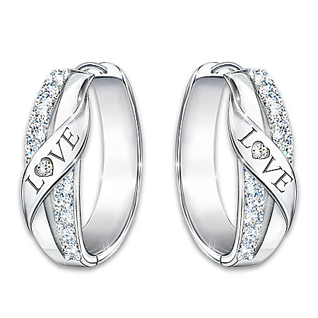 Hugs Of Love Women's Diamond Earrings Engraved With The Word LOVE