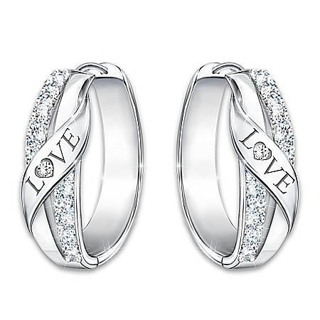 Hugs Of Love Women's Diamond Earrings Engraved With The Word LOVE