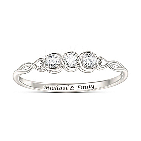 Love's Faithful Promise Women's Personalized Ring Featuring 3 Fully Faceted, Brilliant-Cut Genuine Diamonds – Personalized Jewel