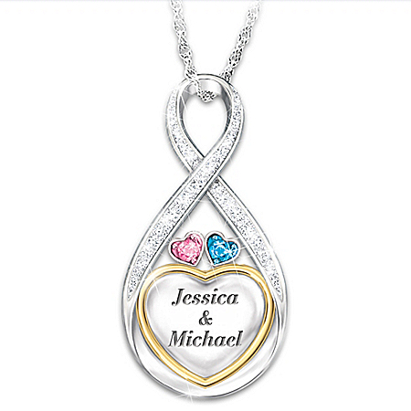 Forever In Love Personalized Heart-Shaped Diamond And Crystal Pendant Necklace – Personalized Jewelry