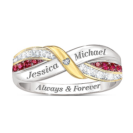 Our Love Forever Women's Personalized Ruby And White Topaz Ring – Personalized Jewelry