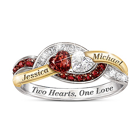 Two Hearts, One Love Women's Personalized Heart-Shaped Ring – Personalized Jewelry