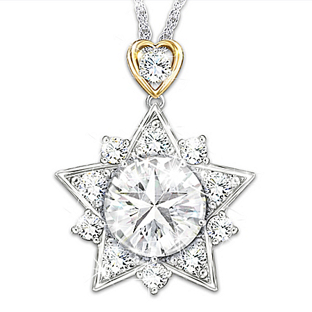 My Shining Granddaughter Personalized Star Topaz Pendant Necklace Featuring An 18K Gold-Plated Open Heart Bail – Personalized Je