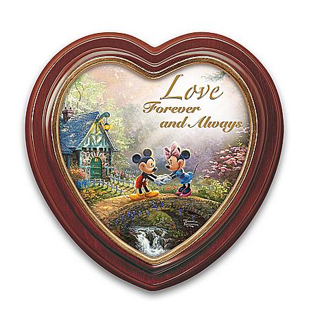 Disney Thomas Kinkade Sweetheart Bridge Heart-Shaped Framed Canvas Wall Decor