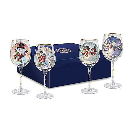 Dona Gelsinger Holiday Cheer Wine Glasses: Set of Four