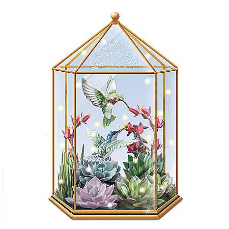 Lena Liu Illuminated Always in Bloom Succulent Terrarium