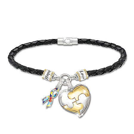My Hero Women's Autism Awareness Personalized Bracelet With Heart-Shaped Charm – Personalized Jewelry