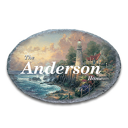 Thomas Kinkade The Light Of Peace Personalized Outdoor Welcome Sign