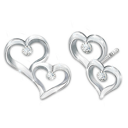 Always My Granddaughter Earrings With 4 Genuine Diamonds
