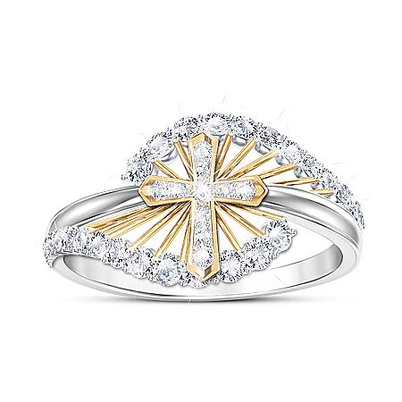 Light Of Faith Women's Religious White Topaz Ring