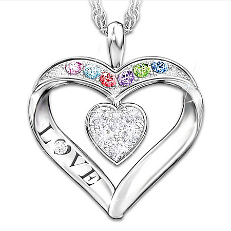 Surrounded By Love Women's Heart-Shaped Personalized Diamond And Crystal Pendant Necklace – Personalized Jewelry