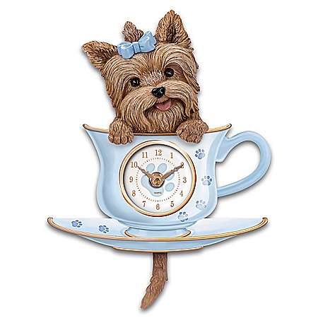 Yorkie Pup Wall Clock With Wagging Tail Pendulum