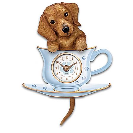 Dachshund Pup Wall Clock With Wagging Tail Pendulum
