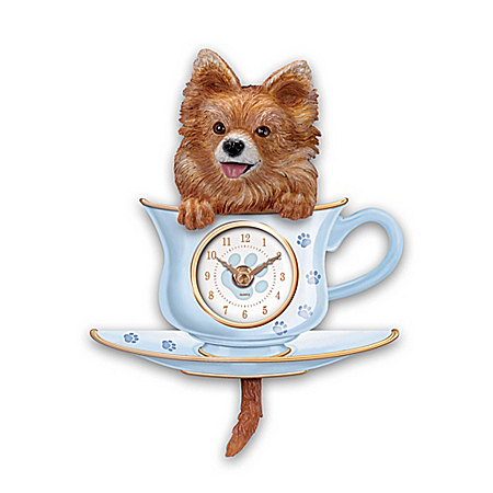 Pomeranian Pup Wall Clock With Wagging Tail Pendulum