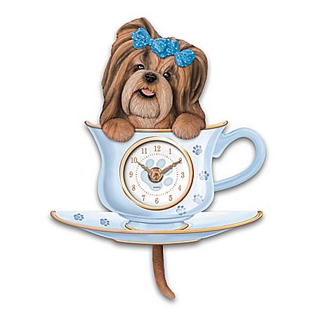 Shih Tzu Pup Wall Clock With Wagging Tail Pendulum