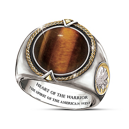 Warrior's Heart Men's Tiger's Eye Gemstone Ring