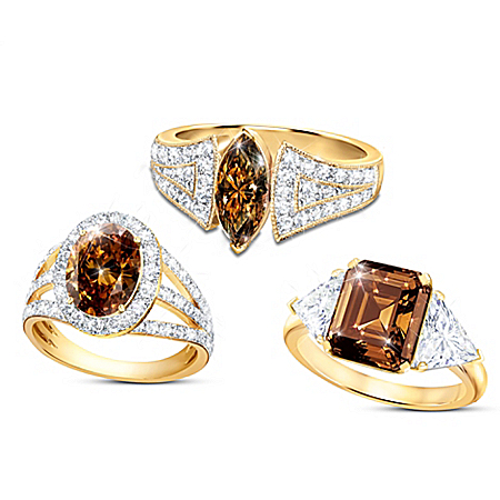 Magnificent Mocha Women's 18K Gold-Plated Diamonesk Ring