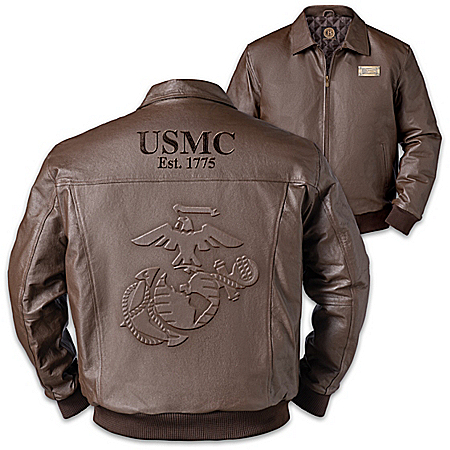 USMC Pride Men's Embossed Leather Bomber Jacket