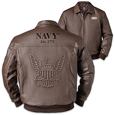 U.S. Navy Embossed Leather Jacket With Metal Flag Plaque