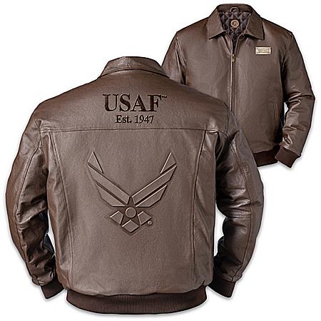 U.S. Air Force Pride Men's Embossed Leather Bomber Jacket