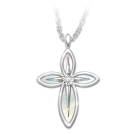 Christian Granddaughter Diamond Cross Pendant And Mirror Box