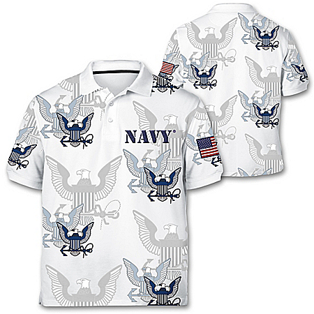 Navy Pride Men's Polo Shirt With Embroidered Patch