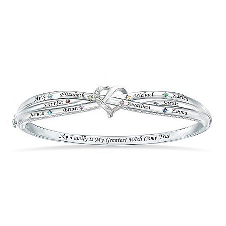 Brightest Wishes Women's Sterling Silver-Plated Personalized Family Birthstone Bracelet With A Crystal Pavé Heart – Persona